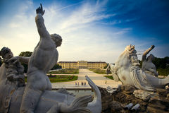 Schönbrunn Castle, Vienna. Schönbrunn Castle in vienna with beautiful gardens in foreground Royalty Free Stock Photos