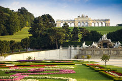 Schönbrunn Castle, Vienna. Schönbrunn Castle in vienna with beautiful gardens in foreground Royalty Free Stock Images