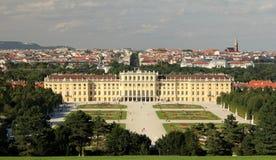 Schönbrunn Palace and gardens. Schönbrunn palace and the huge flowery gardens Stock Photo