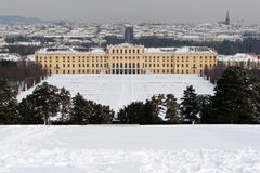 Schönbrunn Palace with snow Royalty Free Stock Photography