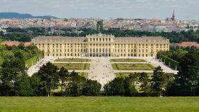 Schönbrunn Palace in Vienna. A view of the Schönbrunn Palace from the Gloriette garden with a cityscape of Vienna in the background Royalty Free Stock Photography