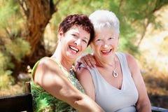 Schöne ältere Mutter und Tochter stockfoto