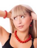 Schöne überraschte blonde Frau Stockfotografie