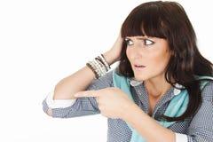 Schöne überraschte Frauenvertretung Lizenzfreies Stockfoto