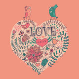 Schöne Abbildung Inneres gebildet von den Blumen Glückliche Valentinsgrußtagesvektorillustration Lizenzfreie Stockbilder