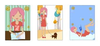 Schöne Abbildungen der Retro- Art mit dem kleinen Mädchen Lizenzfreies Stockbild