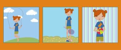 Schöne Abbildungen der Retro- Art mit dem kleinen Mädchen Stockfotos