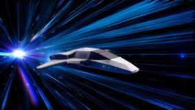 Schöne abstrakte Animation des Raumschiffes in einem Zeitraumtunnel animation Animation 3d des Raumfahrzeugs der Zukunft herein vektor abbildung