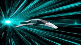 Schöne abstrakte Animation des Raumschiffes in einem Zeitraumtunnel animation Animation 3d des Raumfahrzeugs der Zukunft herein stock abbildung