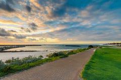 Schöne Adelaide-Ufer bei Sonnenuntergang Lizenzfreies Stockbild