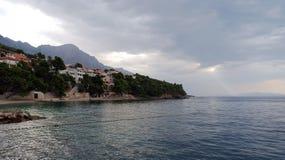 Schöne adriatisches Seebucht mit Kiefern in Kroatien Stockfotografie