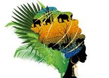 Schöne Afrikanerin Schattenbild des Porträts im traditionellen Turban, Kente-Kopf-Verpackung Afro, traditionelle dashiki Druckenb stock abbildung