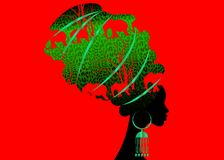 Schöne Afrikanerin Schattenbild des Porträts im traditionellen Turban, Kente-Kopfverpackung afrikanisch, traditionelles dashiki D lizenzfreie abbildung