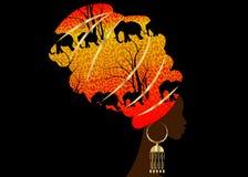 Schöne Afrikanerin Schattenbild des Porträts im traditionellen Turban, Kente-Kopfverpackung afrikanisch, traditionelles dashiki D vektor abbildung