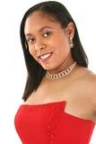 Schöne Afroamerikaner-Frau im formalen Kleid Lizenzfreies Stockfoto