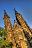 Schöne alte Basilika von St Peter und von Saint Paul, Vysehrad, Prag, Tschechische Republik Stockfotos