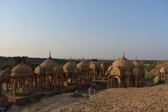 Schöne alte Ehrengrabmale von rawal Königen in bada baagh jaisalmer Rajasthan Indien Stockfotografie