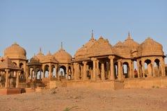 Schöne alte Ehrengrabmale von rawal Königen in bada baagh jaisalmer Rajasthan Indien Lizenzfreies Stockbild