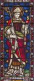 Schöne alte Fenster in Rom (Italien) 2016: Das St Augustine auf dem Buntglas von allem Saints& x27; Anglikanische Kirche durch Ar Stockfoto