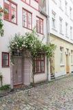 Schöne alte Häuser in Luebeck verzierten mit rosafarbener Blume, Deutschland Lizenzfreie Stockbilder
