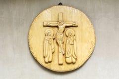 Schöne alte hölzerne Ikone in einer Kirche Stockbild