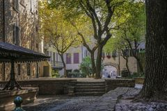 Schöne alte Landschaft in der Mitte von Bergamo in Italien lizenzfreies stockfoto