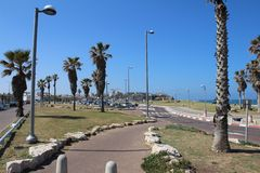 Schöne alte Stadt, Seeansicht in Jaffa, Tel Aviv, Israel lizenzfreie stockfotografie