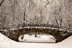 Schöne alte Steinbrücke des Winterwaldes im Schnee an den eisigen Tagen des Sonnenuntergangs Bäume bedeckt im Frost und im Schnee Lizenzfreies Stockbild