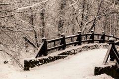 Schöne alte Steinbrücke des Winterwaldes im Schnee an den eisigen Tagen des Sonnenuntergangs Bäume bedeckt im Frost und im Schnee Stockbilder