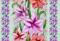 Schöne Amaryllis blüht mit Blättern in den Geraden auf grünem Hintergrund Nahtloses Blumenmuster Adobe Photoshop für Korrekturen Stockbild