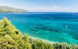 Schöne Ansicht über adriatisches Meer in Orebic, Peljesac-Halbinsel, Dalmatien, Kroatien Lizenzfreies Stockfoto