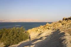 Schöne Ansicht über den felsigen Strand des Toten Meers stockbilder