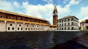Schöne Ansicht über die venetianischen Gebäude umgeben durch Wasser, timelapse lizenzfreie abbildung