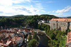 Schöne Ansicht Cesky-Krumlov der alten Stadt Stockbilder