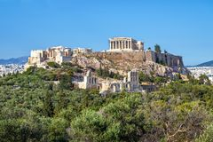 Schöne Ansicht der Akropolises in Athen, Griechenland Stockfoto