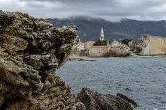 Schöne Ansicht der alten Stadt von Budva, Montenegro Stockfoto