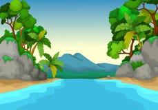Schöne Ansicht der Flusskarikatur mit Waldlandschaftshintergrund