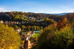 Schöne Ansicht der Fribourg-Stadt, die Schweiz lizenzfreies stockbild