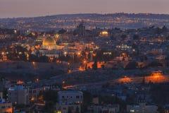Schöne Ansicht der Nacht Jerusalem Lizenzfreies Stockbild