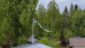 Schöne Ansicht der schwedischen Flagge auf thhe Oberseite des Dachs auf grünem Baumhintergrund schweden stock video footage