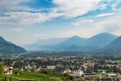 Schöne Ansicht der Stadt von Merano Meran, Italien stockfoto