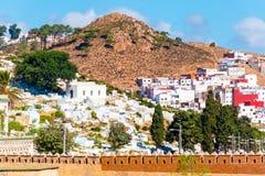 Schöne Ansicht der weißen Farbe Medina O die Tetouan-Stadt, Marokko, Afrika stockbild