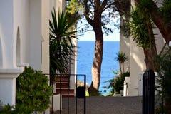 Schöne Ansicht des bunten Mittelmeeres durch ein Yard bei Ibiza Stockbild