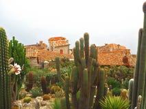 Schöne Ansicht des Dorfs von Eze, Skulpturen, botanischer Garten mit Kakteen, Mittelmeer-, französisches Riviera, azurblaue Küste Lizenzfreie Stockfotos