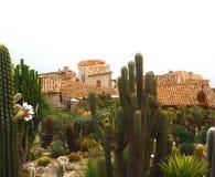 Schöne Ansicht des Dorfs von Eze, Skulpturen, botanischer Garten mit Kakteen, Mittelmeer-, französisches Riviera, azurblaue Küste Stockbild