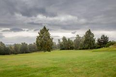 Schöne Ansicht des Golfplatzes in Schottland Stockbild