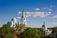 Schöne Ansicht des orthodoxen Klosters auf Insel Valaam Lizenzfreies Stockbild