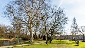 Schöne Ansicht des Proosdij-Parks mit seinem Teich, einem Erdweg und seinen blattlosen Bäumen stockfotos