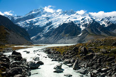 Schöne Ansicht des Schneeberges während des Wegs, zum des Kochs, Südinsel, Neuseeland einzuhängen Stockfoto