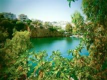 Schöne Ansicht eines Dorfs von Kreta Stockbilder
